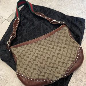 Gucci canvas and gold stud crossbody bag